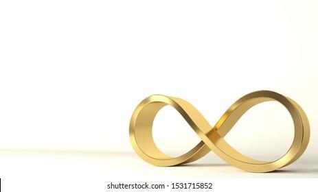 3d illustration. 3d sign infinity golden. Spiral closed form. Interior art or background