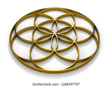 3D Illustration sign seed of life gold 2