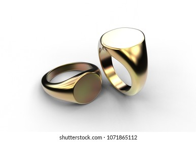 3D illustration of signet ring isolated on white