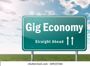 3D Illustration Signpost with Gig Economy wording