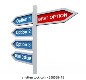 3d illustration of signpost of various options versus final and best option.