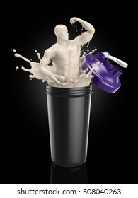 3D illustration of a Silhouette of bodybuilder that is consisting of a white protein, which breaks away from the black shaker, isolated on a black background