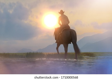 3d illustration of a silhouette of a cowboy and horse at sunset