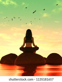 3d illustration of silhouette woman doing meditation yoga on the stone at the sea