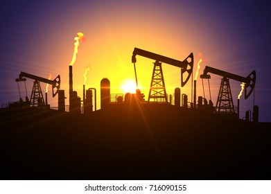 3D illustration of silhouettes of oil derricks and fuel factories with gas flame from pipes