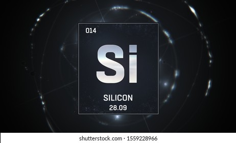 3D illustration of Silicon as Element 13 of the Periodic Table. Silver illuminated atom design background with orbiting electrons. Design shows name, atomic weight and element number