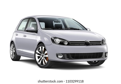 3D Illustration of Silver 4-door car on white