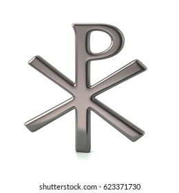 3d illustration of silver chi rho christian symbol isolated on white background
