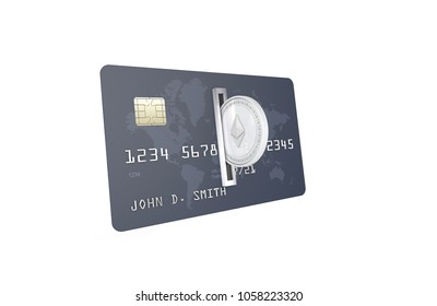 3D Illustration of Silver Ethereum Coin (ETH) being inserted into coin acceptor on a credit card. Ethereum Upload to Bank Account Concept.