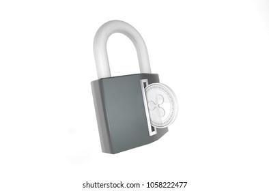 3D Illustration of Silver Ripple Coin (XRP) being inserted into coin acceptor on a padlock. Demanding ransom payments in bitcoin concep