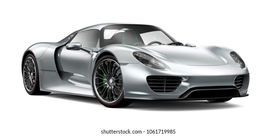 3D illustration of silver super sports car isolated on white