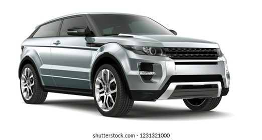 3D illustration of Silver SUV car on white background