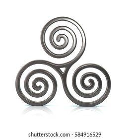 3d illustration of silver Triskele symbol isolated on white background
