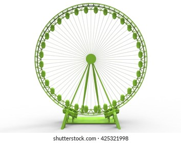 3d illustration of simple ferris wheel. low poly triangles and polygons style.usa style. icon for game web. green color. white background isolated with shadow. simple to use.