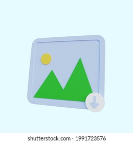 3d illustration simple icon galery with download icon