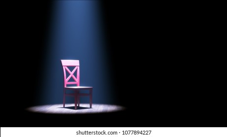 3d illustration of a single empty red chair under a spotlight in an otherwise dark room or on a stage