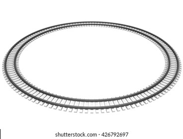 3D Illustration of a Single looped railroad track isolated