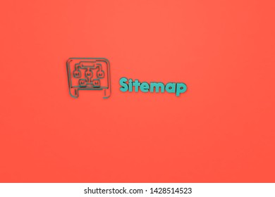 3D illustration of Sitemap, green color and green text with red background.