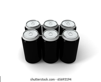 3d illustration of six black aluminum cans over white background