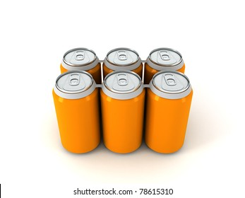 3d illustration of six orange aluminum cans over white background
