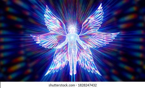 3D illustration six winged cherub a biblical mythical creature