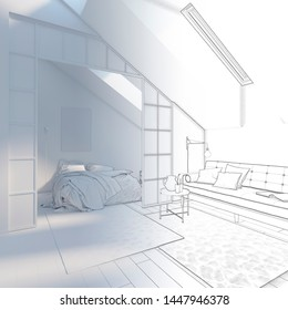 3d illustration. Sketch of apartments in the attic goes into white computer stuff.