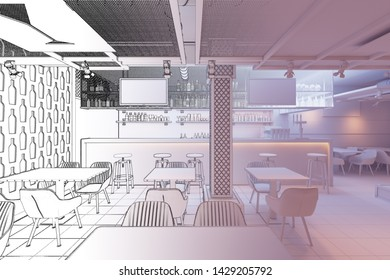 3d illustration. Sketch of the bar became Bar interior in white computer stuff
