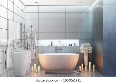 3d illustration. Sketch of a bathroom to become a real interior
