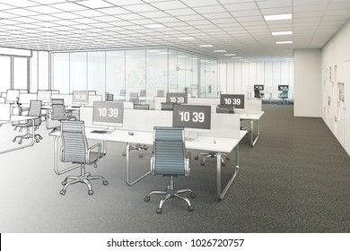 3d illustration. The sketch becomes a real office