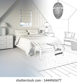 3d illustration. Sketch of сozy bedroom in the attic interior goes into white computer stuff