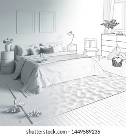 3d illustration. Sketch of the bedroom with tray on the bed goes into white computer stuff