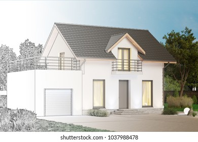 3d illustration. Sketch of a cottage to become a real house