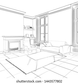 3d illustration. Sketch of cozy living room interior with fireplace