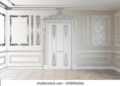 3d illustration. Sketch of door in the classical interior