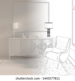 3d illustration. Sketch of interior with picture and armchair goes into white computer stuff