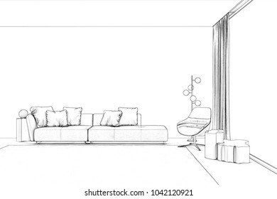 3d illustration. Sketch of living room with panoramic window