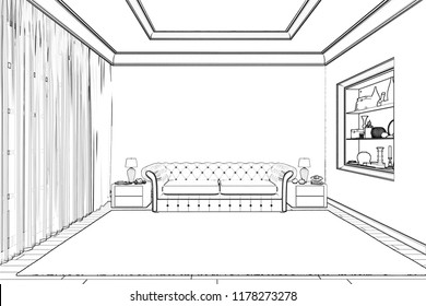 3d illustration. The sketch of the living room