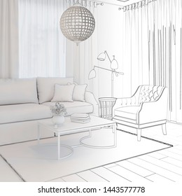 3d illustration. Sketch of сozy living room interior goes into white computer stuff