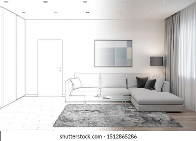 3d illustration. Sketch of a living room with sofa, coffee table, picture and wardrobe became a real interior