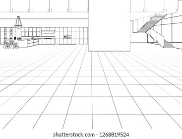 3d illustration. The sketch of the loft apartments