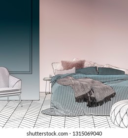 3d illustration. Sketch of the modern bedroom with mock-up wall