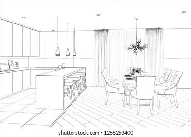 3d illustration. Sketch of modern dining room