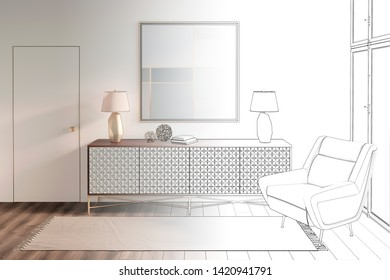 3d illustration. Sketch of сozy modern hall with a picture and a chair