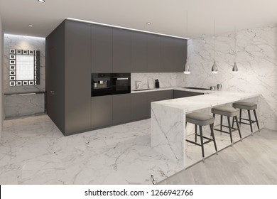 3d illustration. Sketch of modern kitchen turns into a real interior