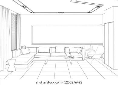 3d illustration. Sketch of modern living room