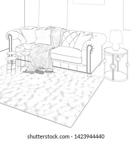 3d illustration. Sketch of сozy modern room with sofa