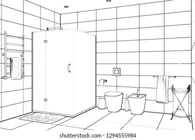 3d illustration. Sketch of modern shower room