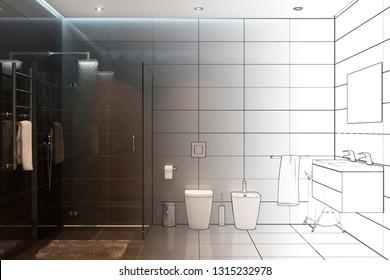 3d illustration. Sketch of the modern shower room