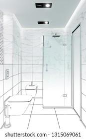 3d illustration. Sketch of a modern white shower room
