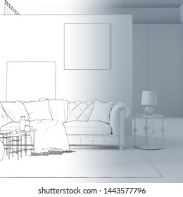 3d illustration. Sketch of сozy room interior goes into white computer stuff